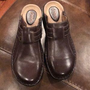 Dunes 8 brown slip on clog shoes
